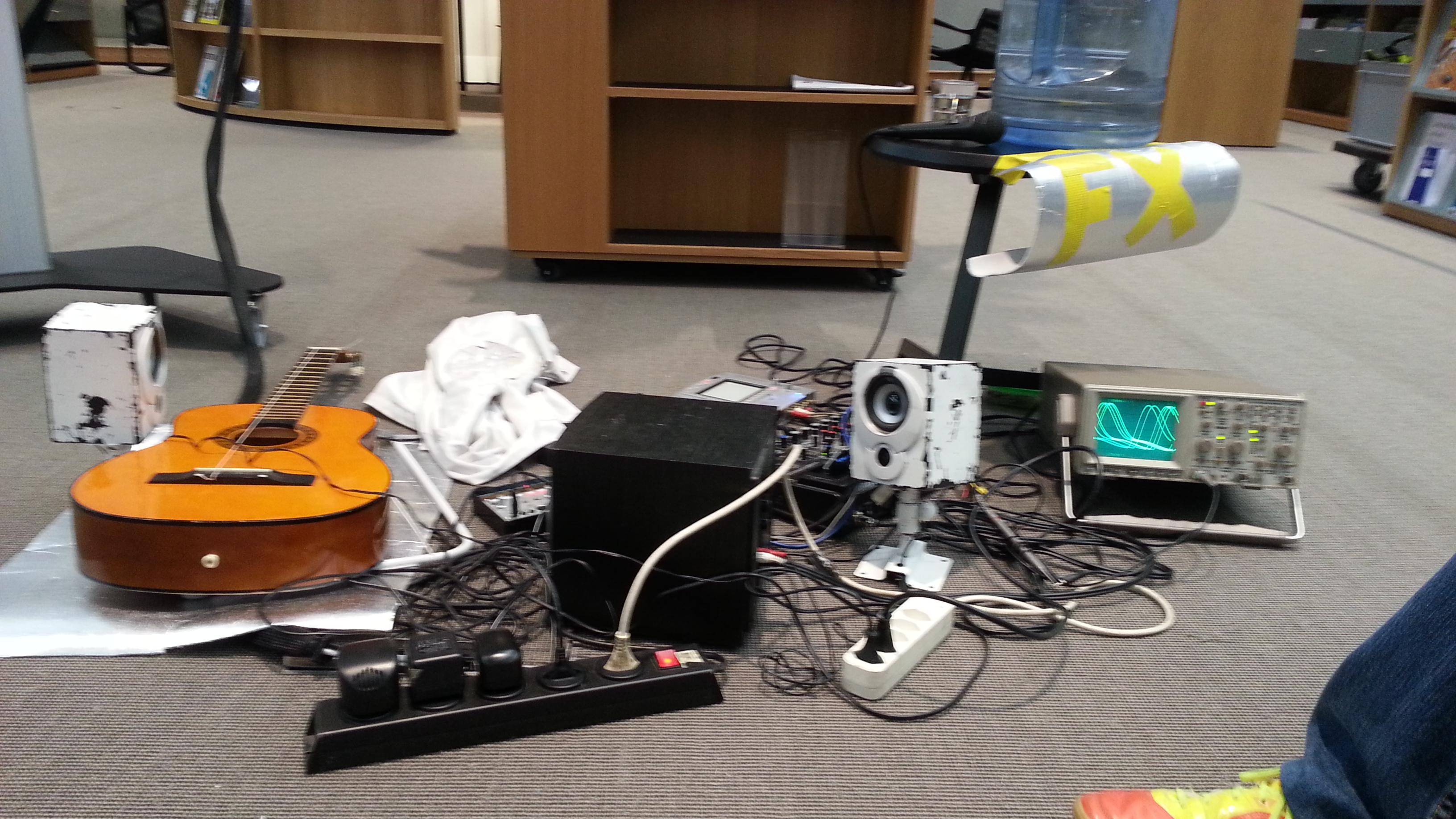 Das Bild zeigt mein Set-up zur Soundperformance in Muttenz.